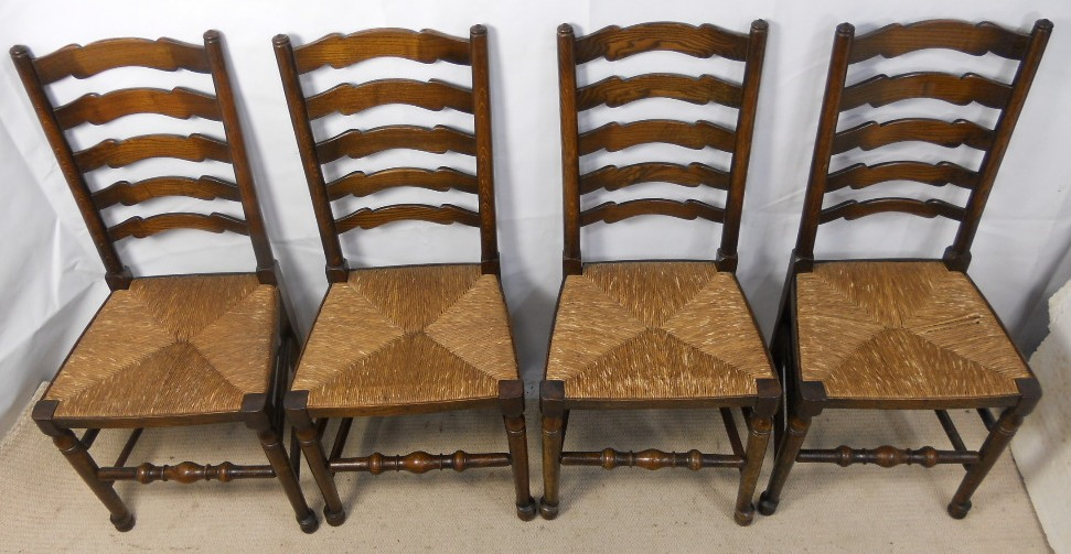 Set of Four Ladderback Rush Seat Elm Wood Dining Chairs SOLD : set of four ladderback rush seat elm wood dining chairs sold 2 3255 p from www.harrisonantiquefurniture.co.uk size 971 x 503 jpeg 201kB